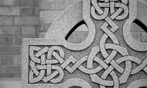 partial image of stone Celtic Cross